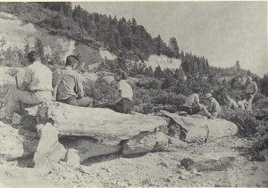 MacGinitie Fossil Leaf Collecting Party, Chalk Bluff ca 1940